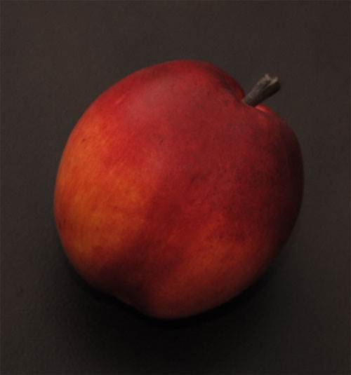 Peach with Stem & Leaf