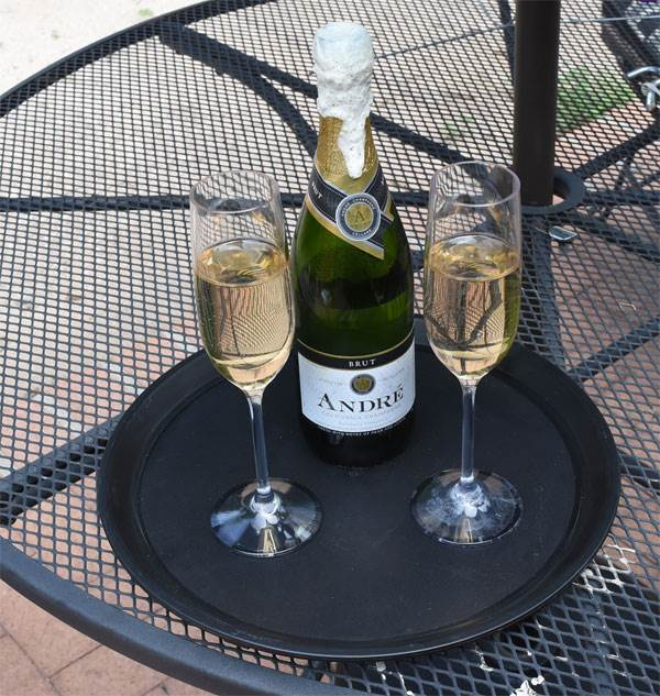Server Tray with Champagne Bottle & Glasses
